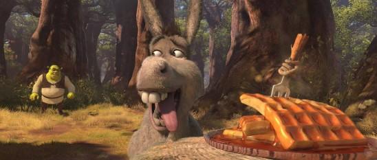 L'Âne, toujours aussi gourmand, serait-il sur le point de tomber dans un piège en succombant à ces délicieuses gauffres dans Shrek 4?