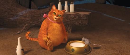 Dans Shrek 4 Il était une fin, Far Far Away a bien changé: le redoutable Chat Potté est devenu obèse et ne cherche plus à chasser les souris!