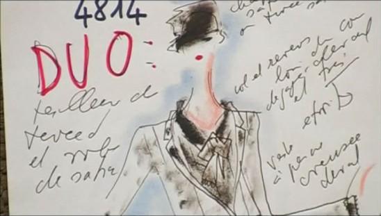 Un des croquis de la collection Haute Couture 2004-2005 dessiné par Karl Lagerfeld dans Signé Chanel de Loïc Prigent.