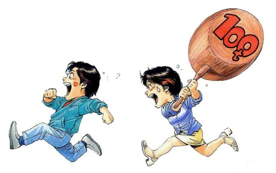 Illustration du manga City Hunter par Tsukasa Hojo: Kaori poursuivant Ryo avec sa célèbre massue de 100 tonnes!