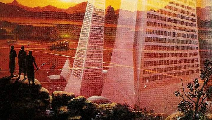 """Illustration de couverture de l'édition américaine de """"Glissement de temps sur Mars"""" de Philip K. Dick."""