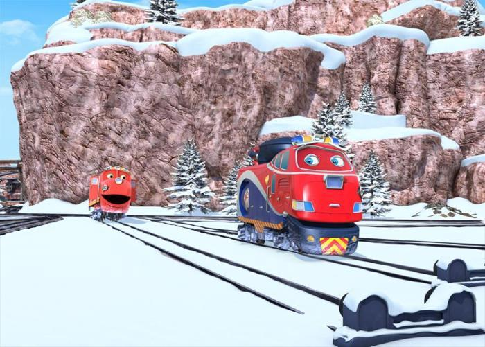 iùage train chuggington la patrouille des neiges