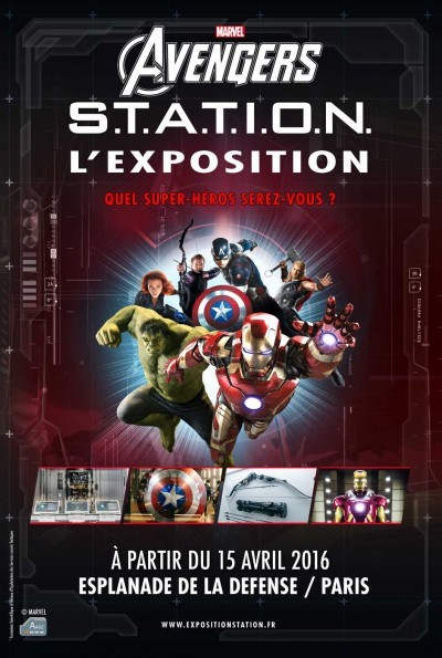 image affiche exposition marvel avengers s.t.a.t.i.o.n. paris la défense