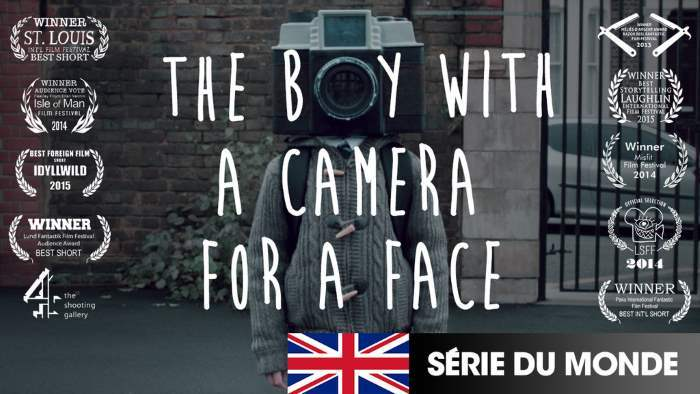 image affiche the boy with a camera for a face