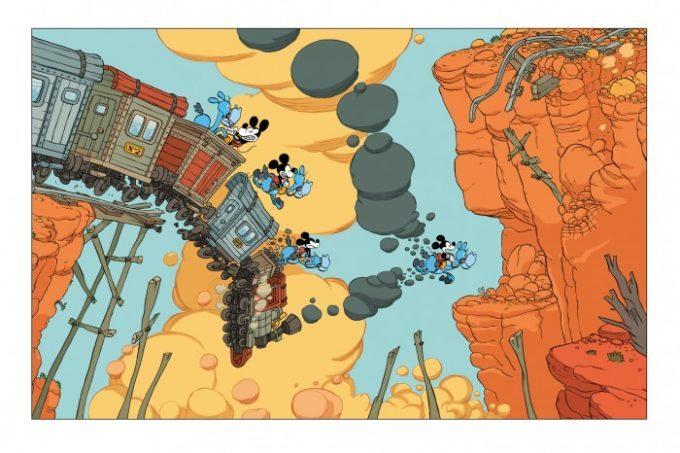 image planche double page western la jeunesse de mickey tébo glénat