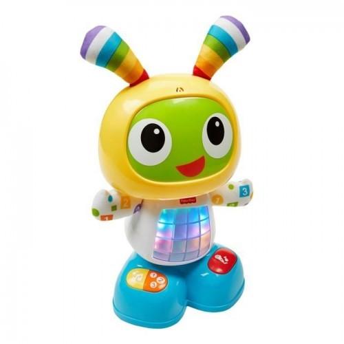 BeBo le Robot (Fisher Price) Bebo est le 1er robot d'apprentissage pour bébé. Ce petit bonhomme aux allures de martien émet plus de 40 chansons sons et phrases pour apprendre les lettres, chiffres, couleurs  et formes à l'enfant, tout en l'encourageant à danser avec lui et à enregistrer ses propres sons. Prix du Jouet de l'année de la Toy Industry Association en 2016,  Bebo pourra être utilisé avec le tapis de danse proposé par Fisher Price. Prix conseillé : 49,99€  A partir de 9 mois