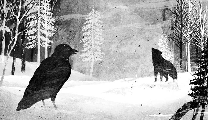 image illustration coeur de loup par gelrev ongbico corbeau loup neige