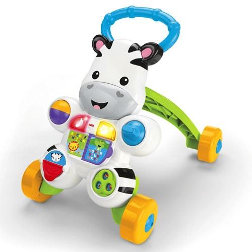 Mon trotteur zèbre parlant (Fisher Price) Pour apprendre à marcher, ce trotteur zèbre coloré offre un support solide à bébé et lui permet d'apprendre les chiffres et les lettres en musique. De petits jeux d'éveil se trouvent également sur le zèbre et lui permettent de développer ses sens. Prix conseillé : 39,99€ A partir de 6 mois.