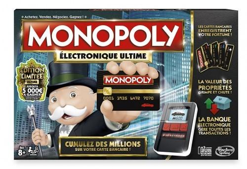 """Monopoly Électronique Ultime (Hasbro)  Monopoly passe à la vitesse supérieure avec cette édition où les transactions immobilières s'effectuent grâce à une carte bancaire à l'unité électronique. Toutes les actions sont enregistrées en posant les cartes, équipées d'une technologie """"contact"""", sur la machine. A noter l'ajout de nouvelles règles pour des parties à rebondissements plus rapides. Prix conseillé : de 32,98€ à 34,99€. A partir de 8 ans."""