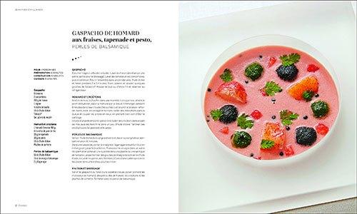 image recette gaspacho de homard aux fraises tapenade et pesto perles de balsamique jy's jean-yves schillinger éditions du chêne