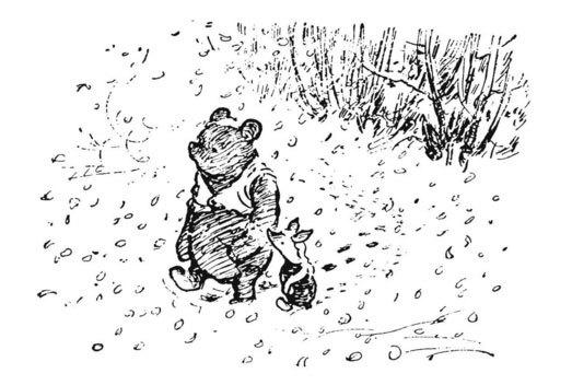 image illustration winnie et cochonnet e. h. shepard la maison de winnie l'ourson a. a. milne gallimard jeunesse