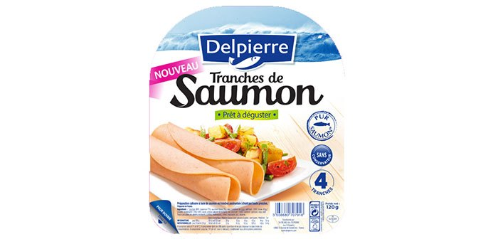 Tranches de saumon prêt à déguster Delpierre. Prix conseillé : 2,95€ les 4 tranches.