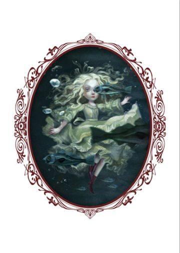 image illustration benjamin lacombe alice de l'autre côté du miroir lewis carroll alice et les poissons éditions soleil