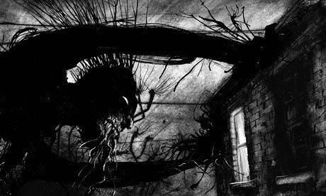 image illustration jim kay quelques minutes après minuit de patrick ness monstre adossé à la maison