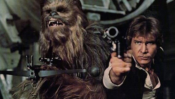 Chewbacca et Han Solo (Harrison Ford) dans Star Wars, Episode IV, Un Nouvel Espoir.