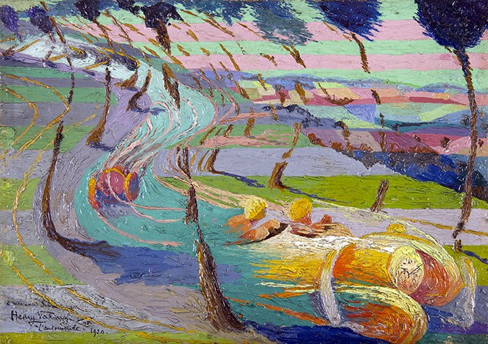image peinture étude pour l'expression de l'automobile henry valensi 1920