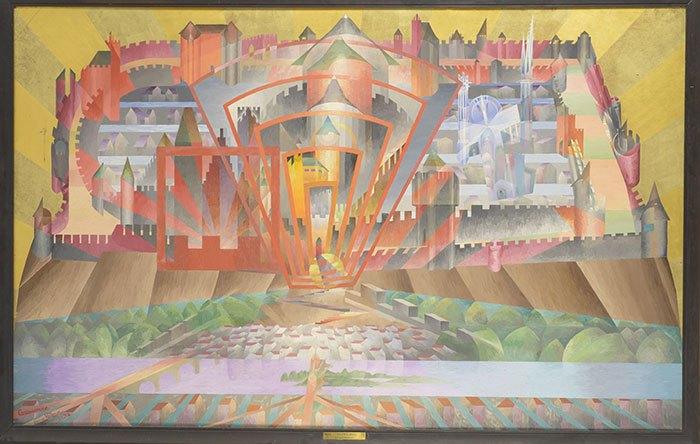 image tableau la cité de carcassonne henry valensi 1934