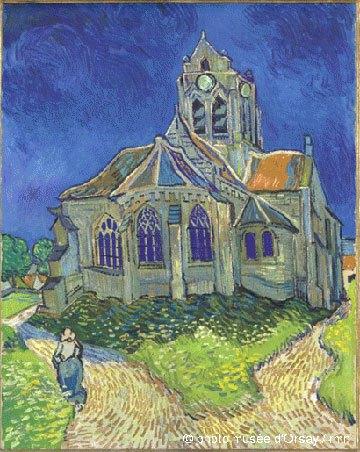 image tableau l'église d'auvers sur oise vue du chevet vincent van gogh musée d'orsay