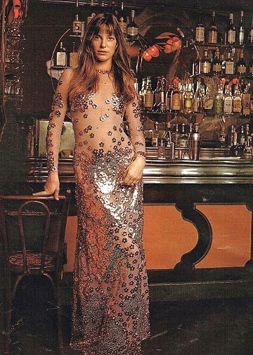 image jane birkin robe argentée azzaro