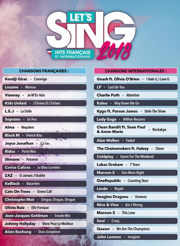image playlist let's sing 2018