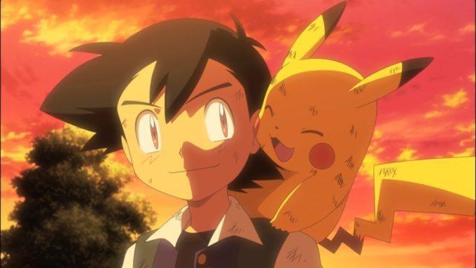 image sacha pikachu soleil couchant pokémon le film je te choisis