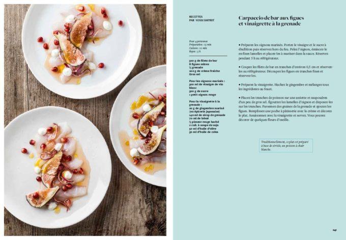 image recette carpaccio de bar aux figues vinaigrette grenade paris-tel aviv hachette cuisine