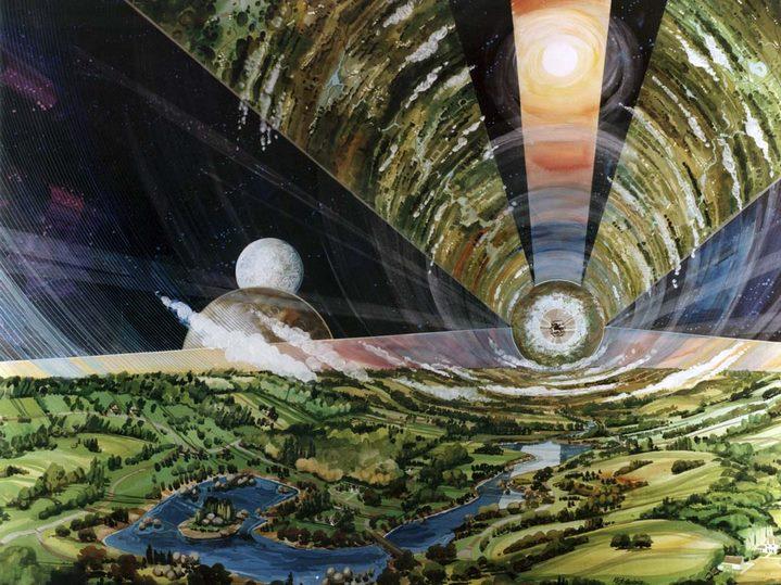 Vue d'artiste de l'intérieur d'une colonie cylindrique (NASA Ames Research Center).