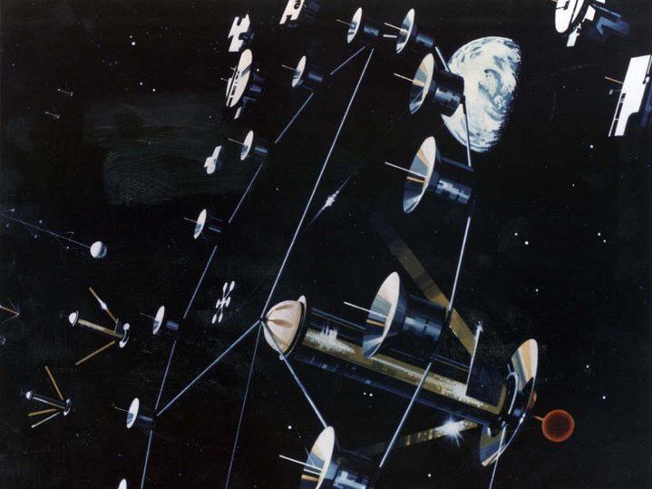 Vue d'artiste de l'extérieur d'une colonie cylindrique (NASA Ames Research Center).