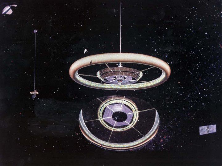 Vue d'artiste d'une colonie toroïdale (NASA Ames Research Center).