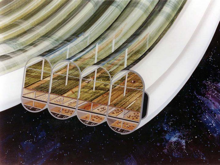 Vue des modules agricoles d'une Sphère Bernale (NASA Ames Research Center).