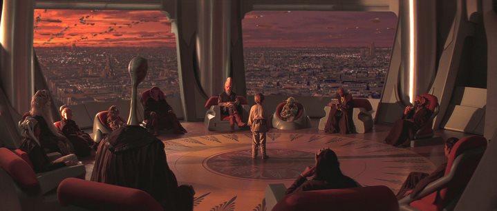Le Conseil des Jedi dans Star Wars, Episode I, La menace fantôme de George Lucas.