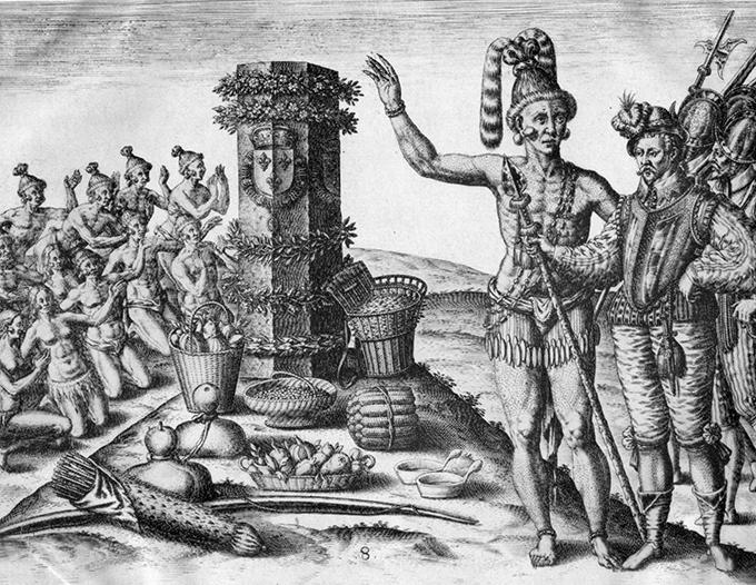 image laudonnière indiens en floride gravure 1591 théodore de bry attribuée à jacques le moyne