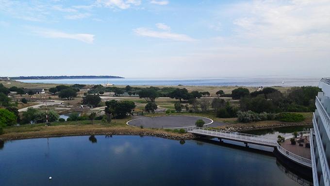 image vue lac océan terrasse restaurant le safran miramar la cigale hôtel arzon bretagne