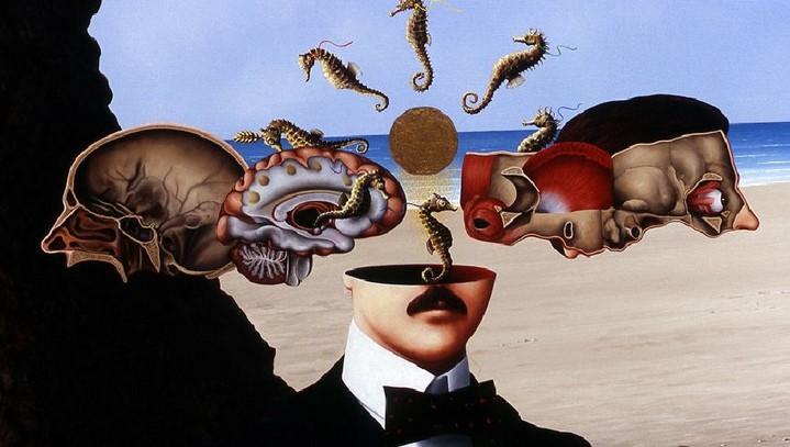 Détail du tableau La femme invisible. À la mémoire de Raymond Roussel par « la machine » de Louise Montalescot.