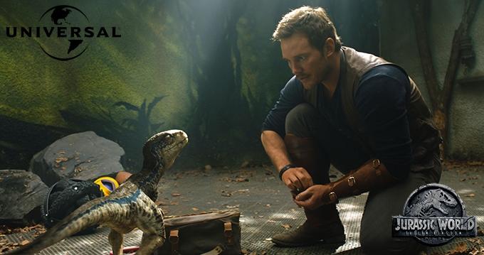 image chris pratt bébé dinosaure juraassic world fallen kingdom universal