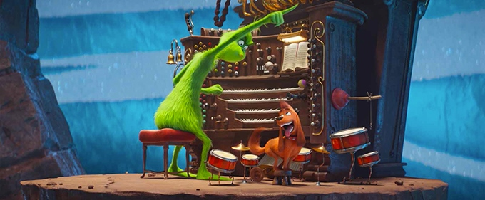 image le grinch et son chien max à l'orgue film illumination