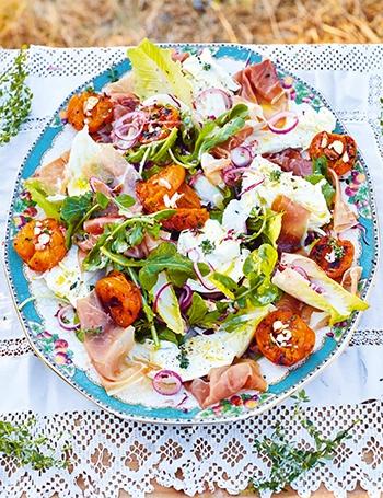 image salade aux abricots grillés jamie cuisine l'italie jamie oliver
