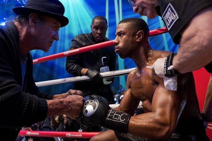 image sylvester stallone coache michael b. jordan sur le ring dans creed 2 film