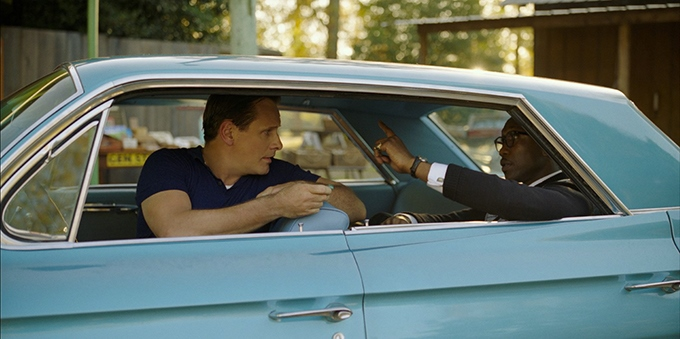image viggo mortensen et mahershala ali en voiture dans le film green book de peter farrelly