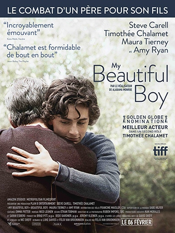 image affiche my beautiful boy avec steve carell et timothée chalamet