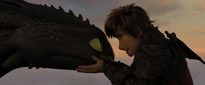 image krokmou et harold coucher de soleil dragons 3 le monde caché