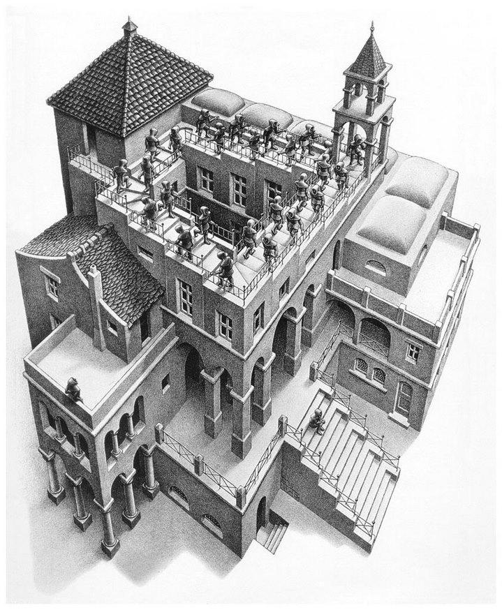 Montée et descente, lithographie de M. C. Escher (1960)