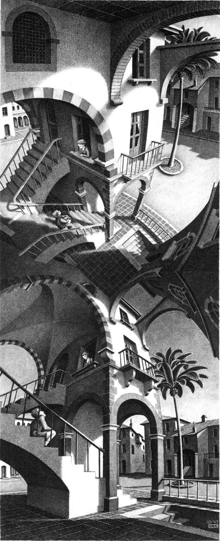 En haut et en bas, lithographie de M. C. Escher (1947).