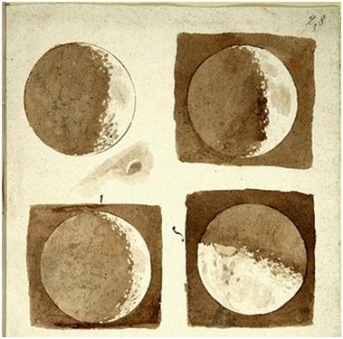 Dessins de la Lune observée à la lunette astronomique par Galilée.