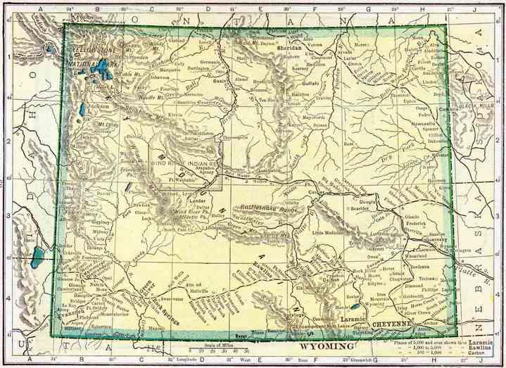 Carte du Wyoming datée de 1908. La ville de Kemmerer se situe au sud ouest (source : https://www.accessgenealogy.com/wyoming/1910-wyoming-census-map.htm).