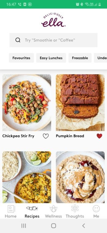 index des recettes application android deliciously ella