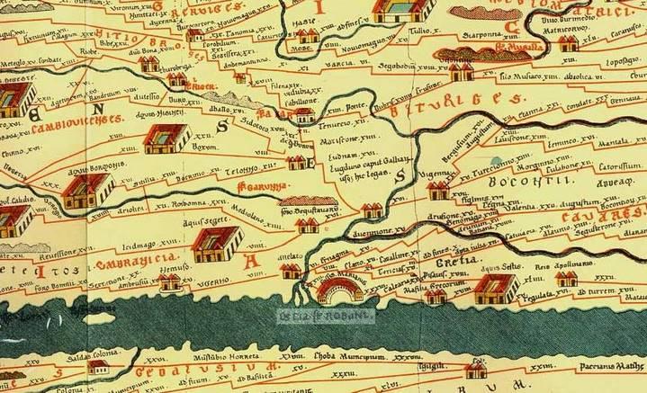 """Détail de la table de Peutinger, copie du XIIIe siècle d'une ancienne carte romaine où figurent les routes et les villes principales de l'Empire romain qui constituaient le """"cursus publicus"""" (copie de Konrad Miller, 1887). Source : https://fr.wikipedia.org/wiki/Table_de_Peutinger"""