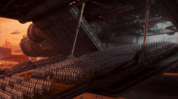 Emergence du futur Empire à la fin de Star Wars, Episode II, L'attaque des clones (George Lucas, 2002).