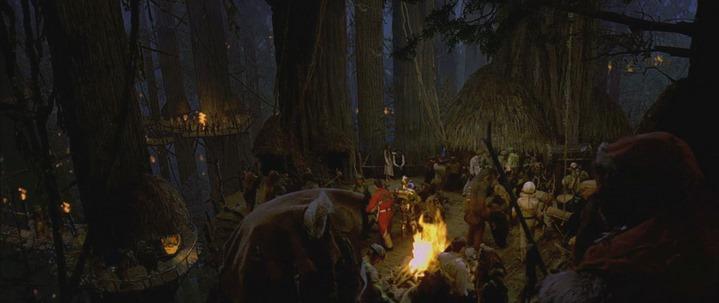 Fête des Ewoks et de l'Alliance rebelle, dans Star Wars, Episode VI, Le Retour du Jedi (1983).