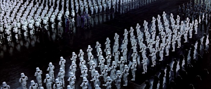 """Les """"storm troopers"""" de l'Empire, dans Star Wars, Episode VI, Le Retour du Jedi (1983)."""